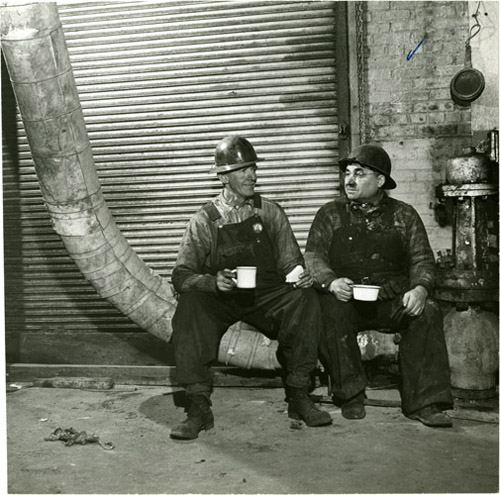 Central Boiler House- C. B. H. Boiler makers having coffee at noon, 1944. Standard Oil Company (New Jersey) Photography Project Records. E_sonj_0021.