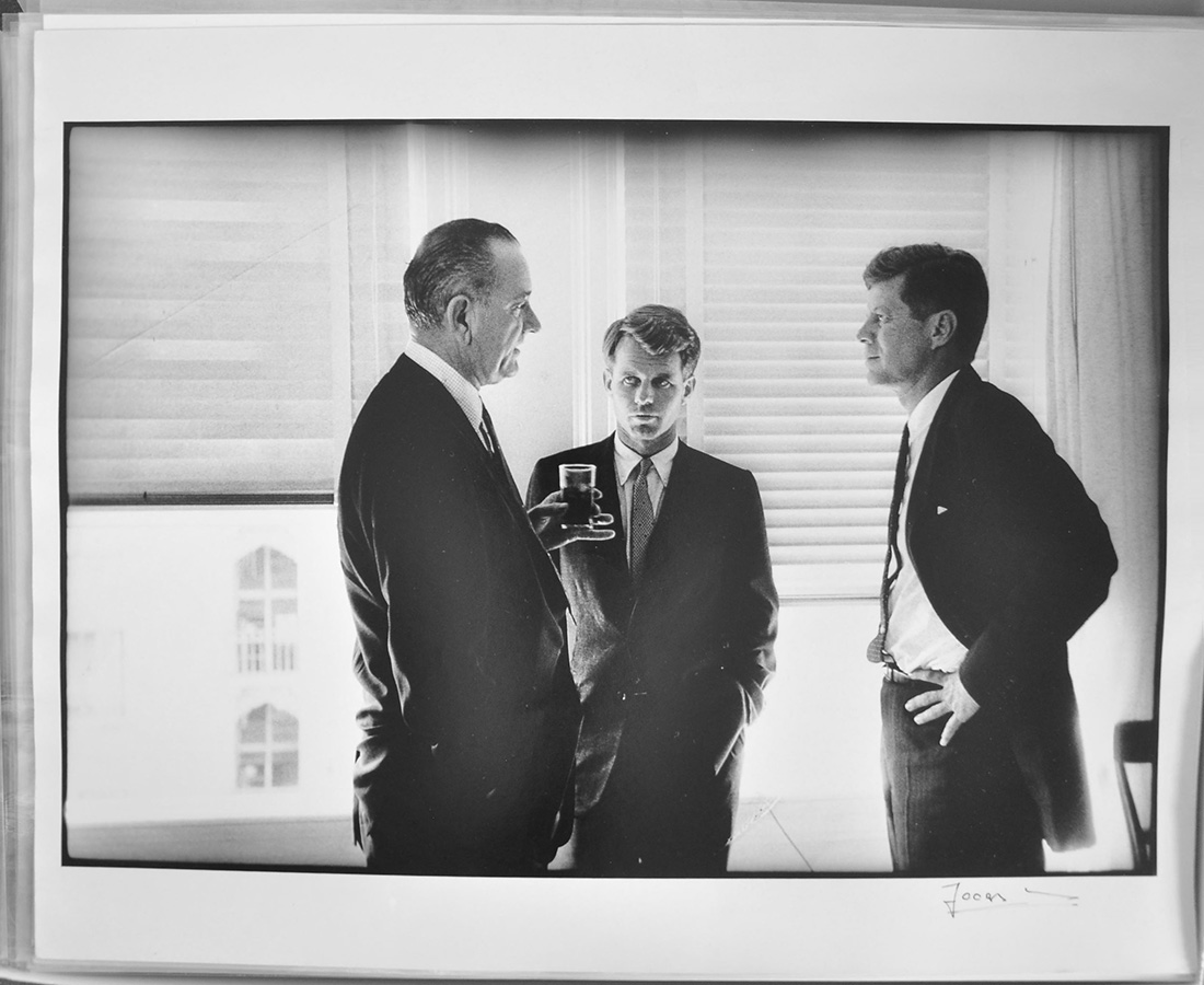 Sen. Lyndon B. Johnson, Robert Kennedy and John F. Kennedy meet during the Democratic National Convention, prior to the official announcement that Johnson would be JFK's running mate. Los Angeles, Cal., July 14, 1960. © The Estate of Jacques Lowe.