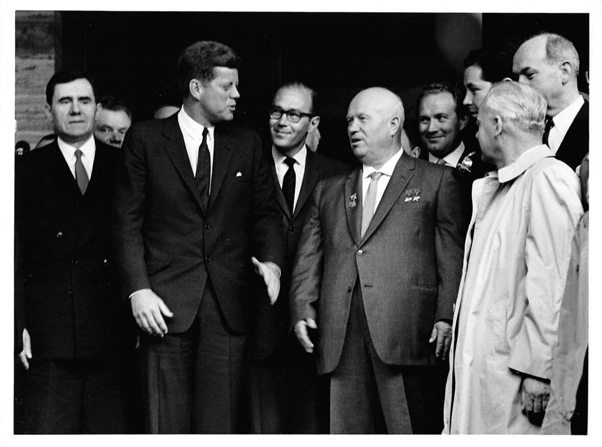 President John F. Kennedy with Soviet Premier Nikita Khrushchev during their historic Vienna Summit, 1961. © The Estate of Jacques Lowe.