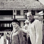Miss Ima Hogg and architect Wayne Bell in front of the Lewis-Wagner House, ca. 1961-67. From the University of Texas Development Board newsletter. di_07107