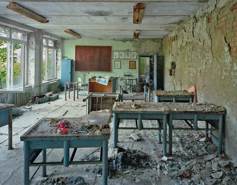 Classroom, Pripyat [Chernobyl site], Ukraine, 2001. © Robert Polidori
