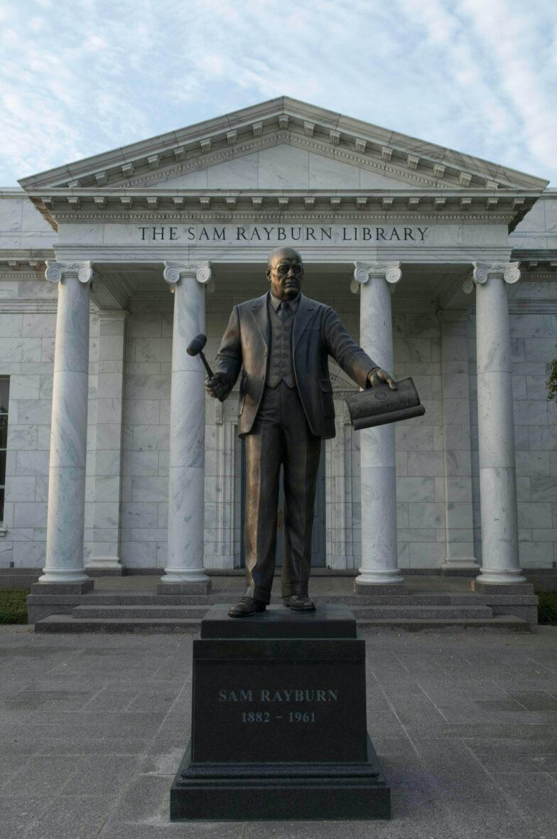 Sam Rayburn statue plaza. Courtesy of Michael Amador/Texas Highways.