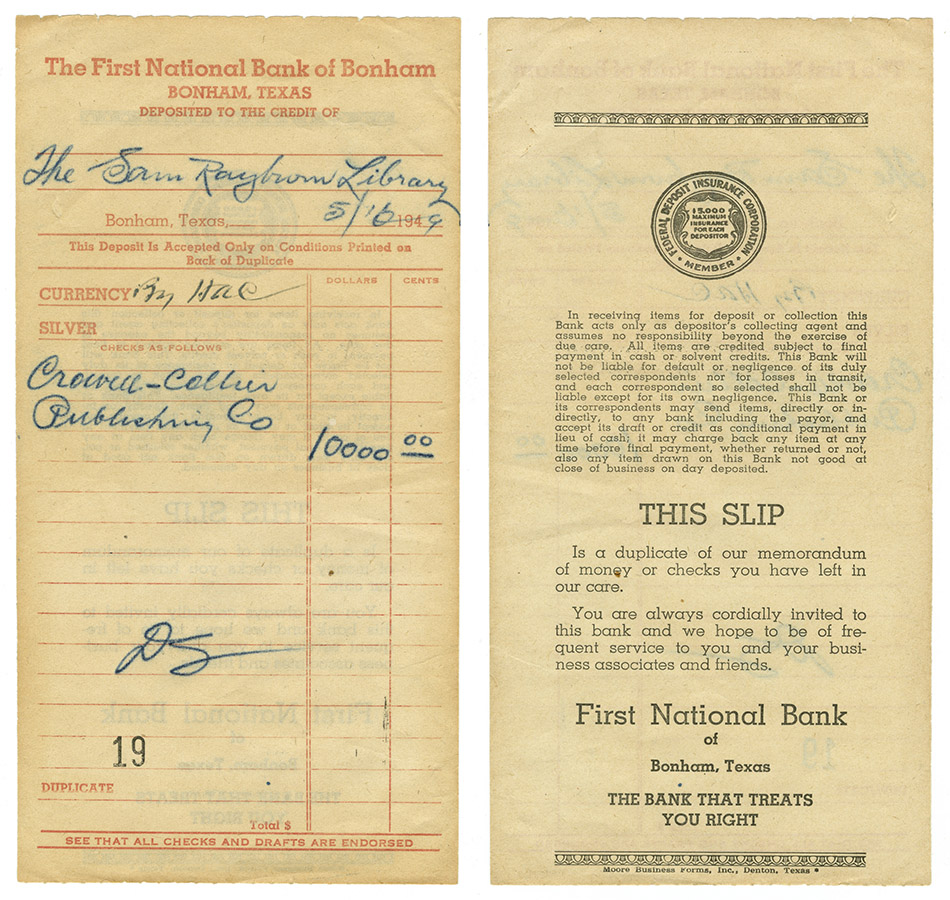 Slip for the first deposit made for the Sam Rayburn Library fund, 1949. Sam Rayburn Papers. di_04614