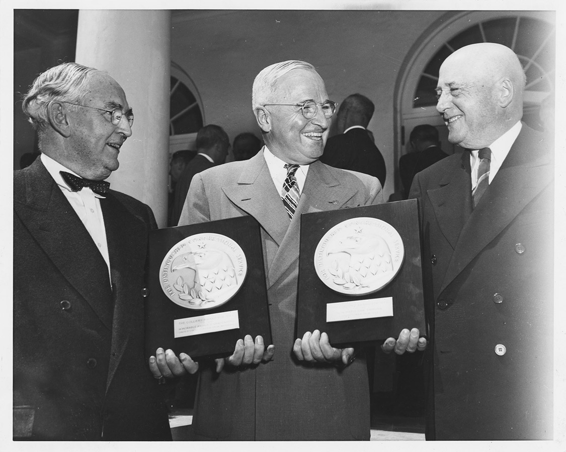 Senator Vandenberg (left) and Speaker Sam Rayburn (right) receiving the Collier's Award, May 7, 1948. Sam Rayburn Papers. di_04632