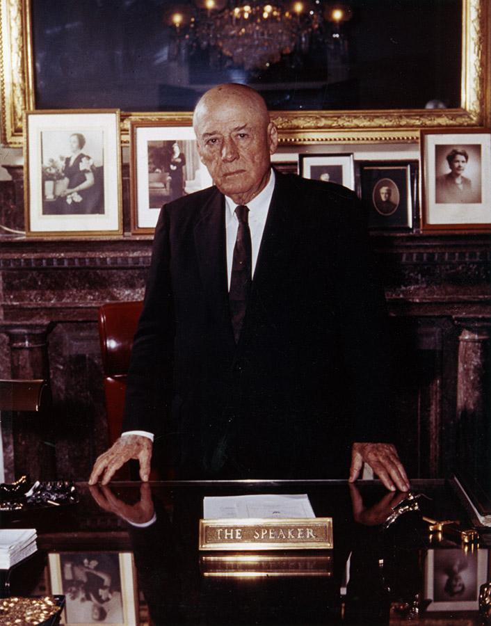 Sam Rayburn behind the Speaker's desk. Sam Rayburn Papers. di_05967