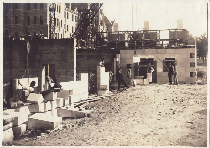 Construction photo of Battle Hall (with workers)