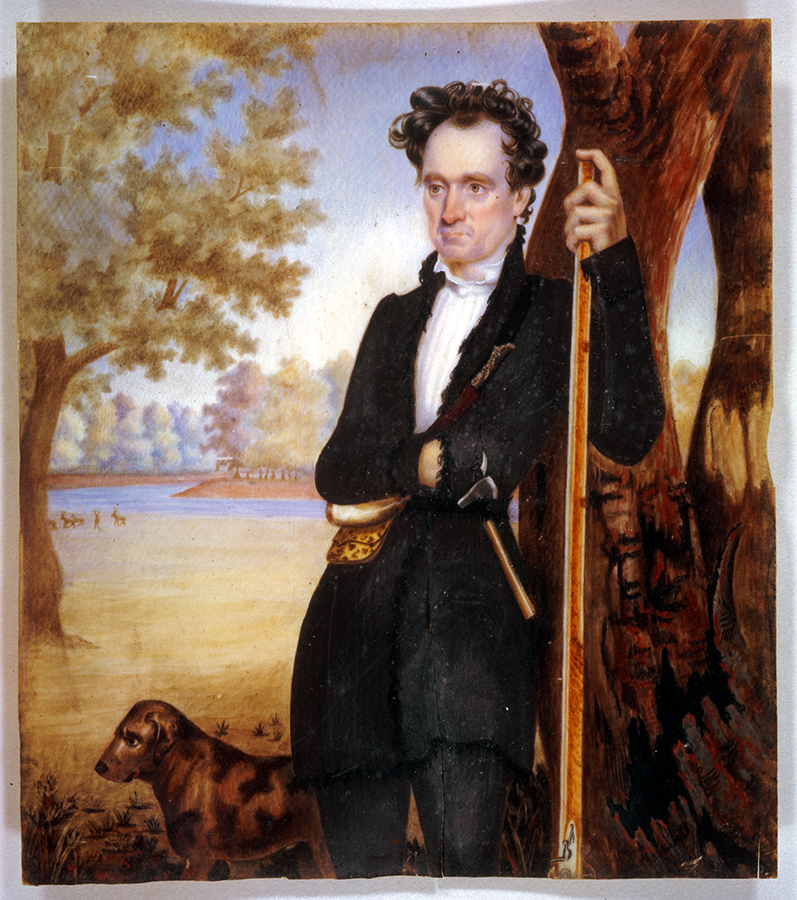 Ivory miniature watercolor portrait of Stephen F. Austin, 1833. Prints and Photographs Collection. di_00814