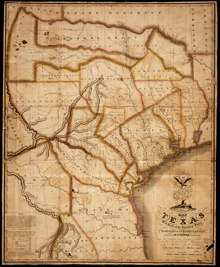 Map of Texas with parts of the adjoining states compiled by Stephen F. Austin and published by H. S. Tanner, 1835. J.P. Bryan Map Collection. di_02885