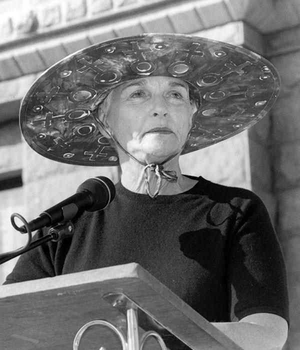 Frances Farenthold speaking at a Sierra Blanca protest